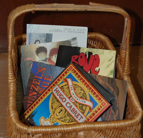 photo of basket full of books