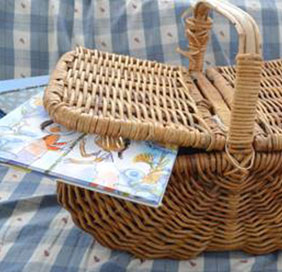 photo of a basket with books in it