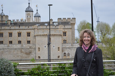Bev standing beside the Tower of London, 2013""